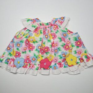 VTG 80's Baby Girl's Floral Apron Pinafore Dress